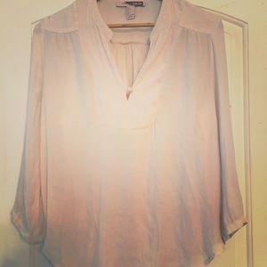 Beige one button flowy blouse,